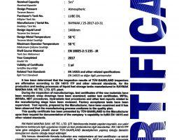 EN 14015 LUBE OIL TANK CERTIFICATE