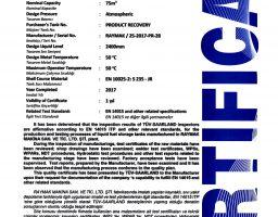 EN 14015 RECOVERY TANK CERTIFICATE